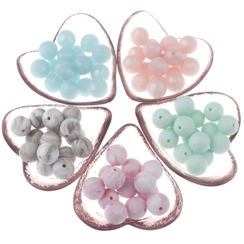 100pc Baby Silicone Metallic Marble Teether Round Beads Bpa Free Teething Jewelry Making Infant Pacifier Chain Charm Shower Gift