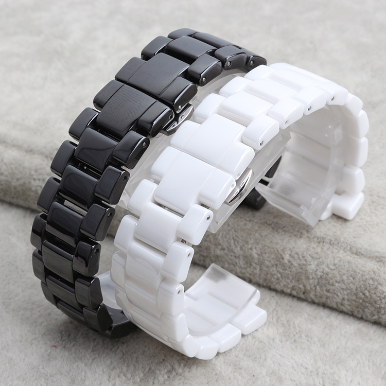 Ceramic watchband bracelet 22mm white black watch band watch strap Butterfly Buckle wristband belt watch accessories