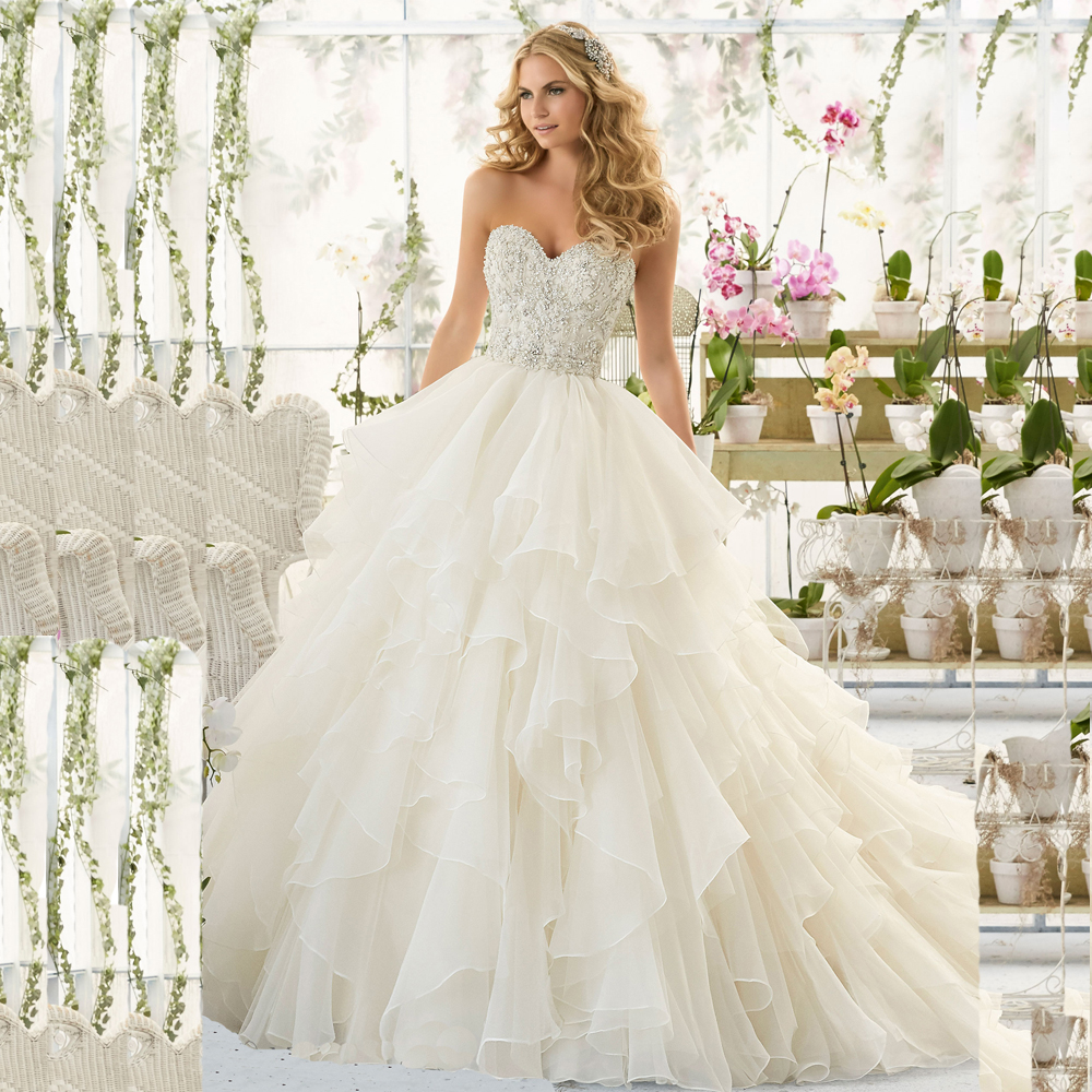 Elegant Sexy Backless Lace Ball Gown Wedding Dresses