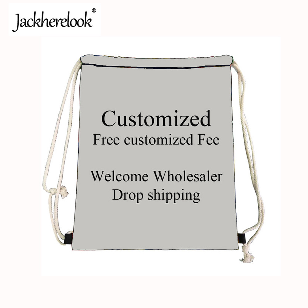 Jackherelook Small Drawstring Bags Customize Picture or Logo Women Casual Travel Backpack String Men Cinch Storage