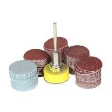 100 pces 25mm 1 Polegada disco de lixadeira disco 100-3000 grit papel com 1 Polegada placa de almofada polonês abrasivo + 1/8 Polegada haste para drem