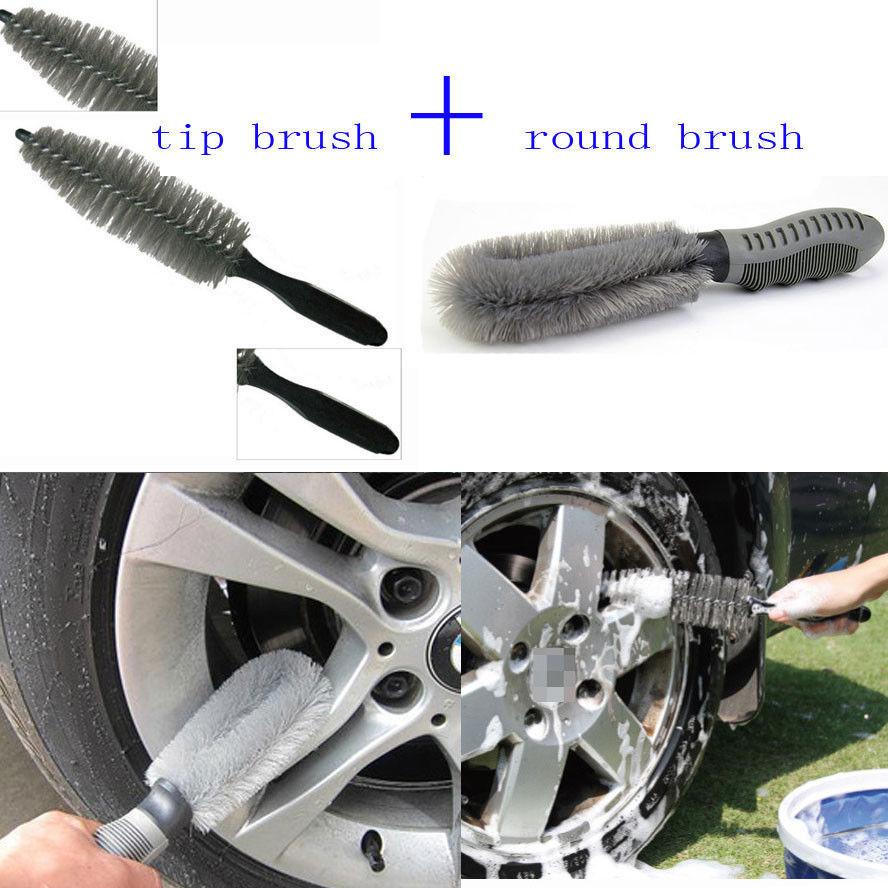 BBQ@FUKA Portable Multifunction Car Wheel Tire Rim Hub Brush Wash Cleaning Tool Kit Fit For Universal Car accessary for vw kia
