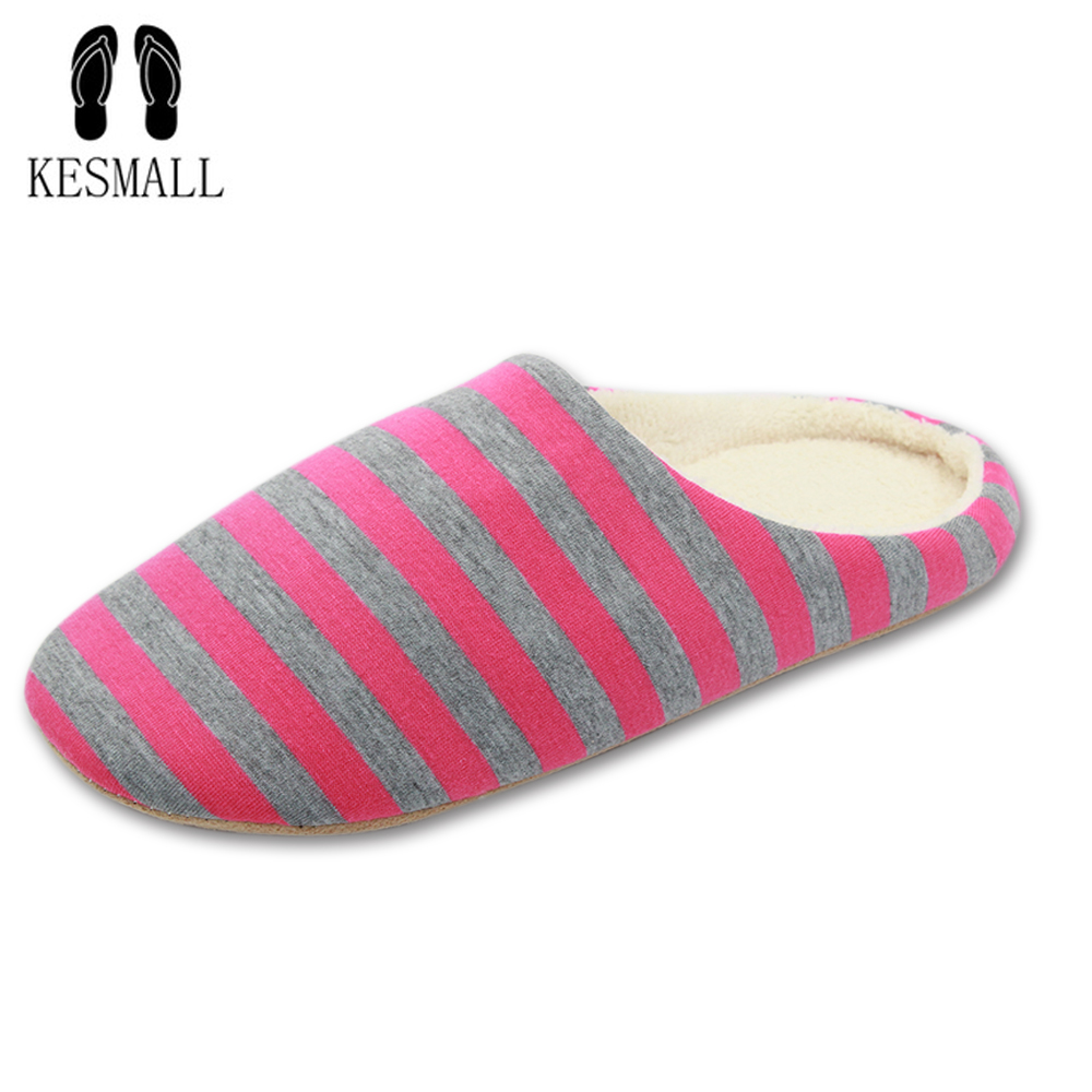 KESMALL Striped Soft Bottom Home Slippers Cotton Warm Shoes Women Indoor Floor Slippers Non-slips Shoes For Bedroom House WS313 women floral home slippers cartoon flower home shoes non slip soft hemp slippers indoor bedroom loves couple floor shoes