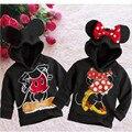 2 Estilos Primavera/Outono Do Bebê Crianças Meninos Meninas Minnie Mouse Jaqueta Com Capuz T-shirt da Camisola Do Hoodie Roupas 2-6Years