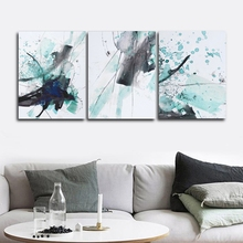 Ink Blue Abstract Wall Pictures Poster Print Canvas Painting Calligraphy Decor for Living Room Bedroom Home Frameless