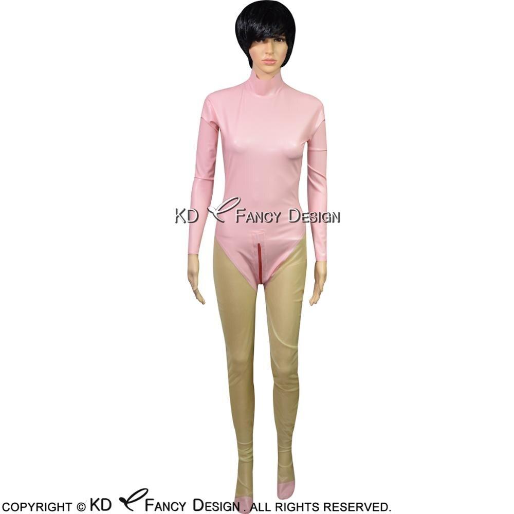 Sexy Latex Catsuit avec chaussettes décoration dos fermeture à glissière et fermeture à glissière en caoutchouc Body Zentai ensemble corps costume LTY-0137