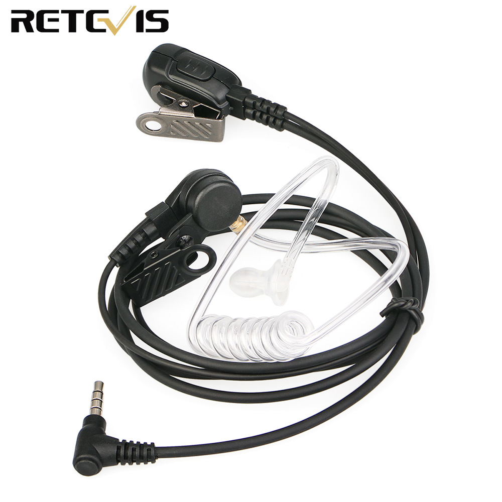 Retevis EA011Y Earpiece Mic PTT Headset 3.5mm 1-Pin Acoustic Tube For YAESU For VERTEX Retevis RT40 Walkie Talkie Ham Radio