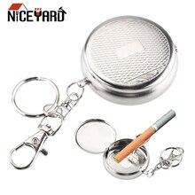 NICEYARD карманная пепельница с брелком Мини Портативная автомобильная пепельница из нержавеющей стали