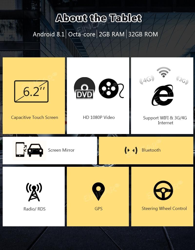 Podwójne Radio Din Bluetooth-obsługa nawigacji GPS, Fastboot, 3G WIFI, USB SD, MirrorLink, kamera cofania, AUX, Subwoofer, OBD2,