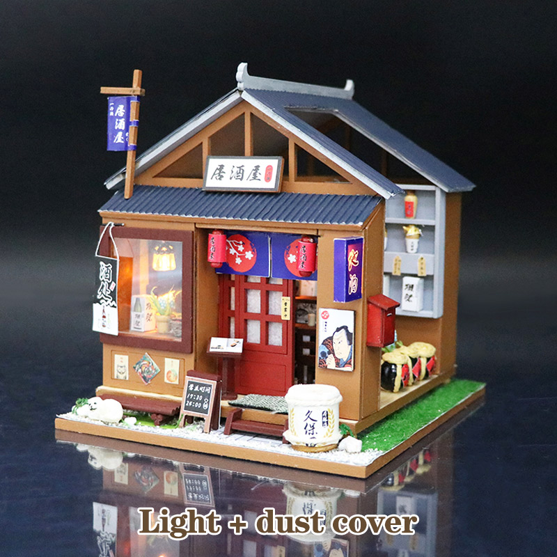 Japanese Style DIY Wooden Doll Houses Miniature Dollhouse Furniture Kit Toy For Children Birthday Gifts Tasting Liquor Stroe