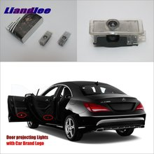 Liandlee For Mercedes Benz CLA 2012~2013 Door Ghost Shadow Lights Car Brand Logo LED Projector Welcome Light Courtesy Doors Lamp 2x canbus led car door logo welcome light ghost shadow projection emblem lights for seat alhambra n7 2011 2012 2013 2014