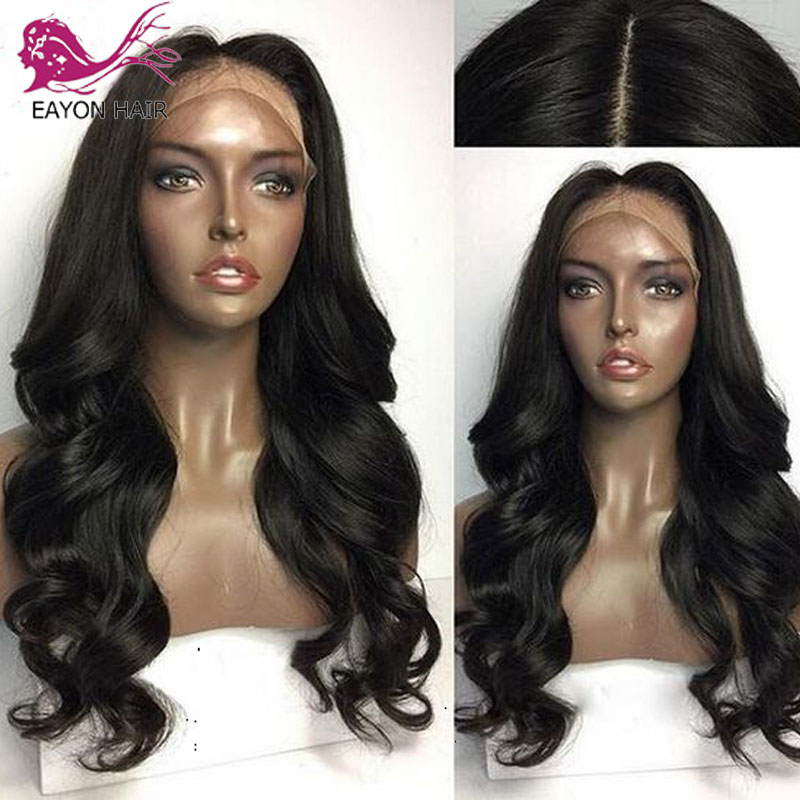 EAYON Body Wave 5x4.5 Silk Base Lace Front Human Hair Wigs With Baby Hair Pre Plucked Hairline Peruvian Remy Hair 130% Density