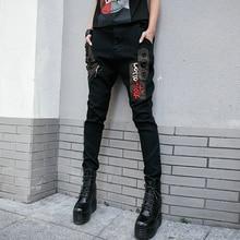 2019 nuevo Hip Pop pantalones de harén de las mujeres carta bordado  bolsillo Stretch Skinny pantalones lápiz negro genial Rock p. 1292a8b7bec