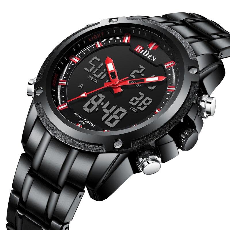 BIDEN TOP marque de luxe hommes montre Sport montres pour hommes numérique Quartz affaires bande en acier étanche horloge Reloj Hombre
