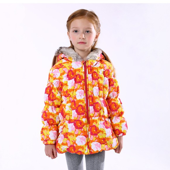 Newly Children girl winter long jacket fur hooded print floral waterproof thickening coat parkas sweet 4 6 girl clothes dresses