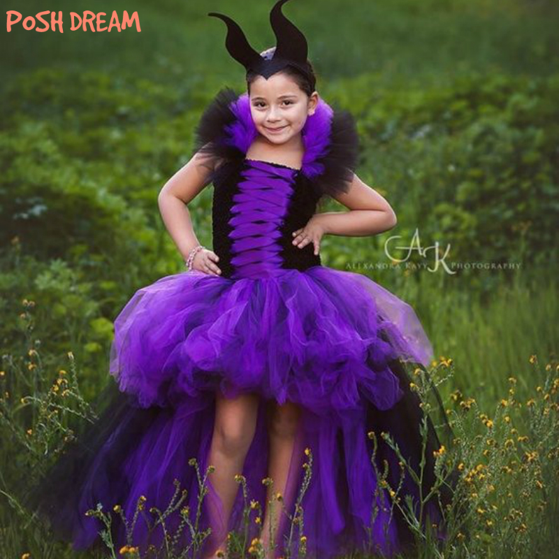 POSH DREAM Purple And Black Witch Children Girls Tutu Dress For Cosplay Party Maleficent Kids Girls Halloween Witch Clothes
