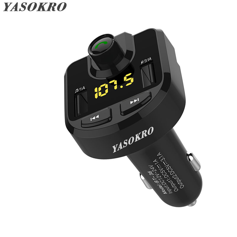 YASOKRO FM Transmitter Modulator Bluetooth Handsfree Car Kit with 4.1A Quick Charge Dual USB Car Charger Car Audio MP3 Player usb