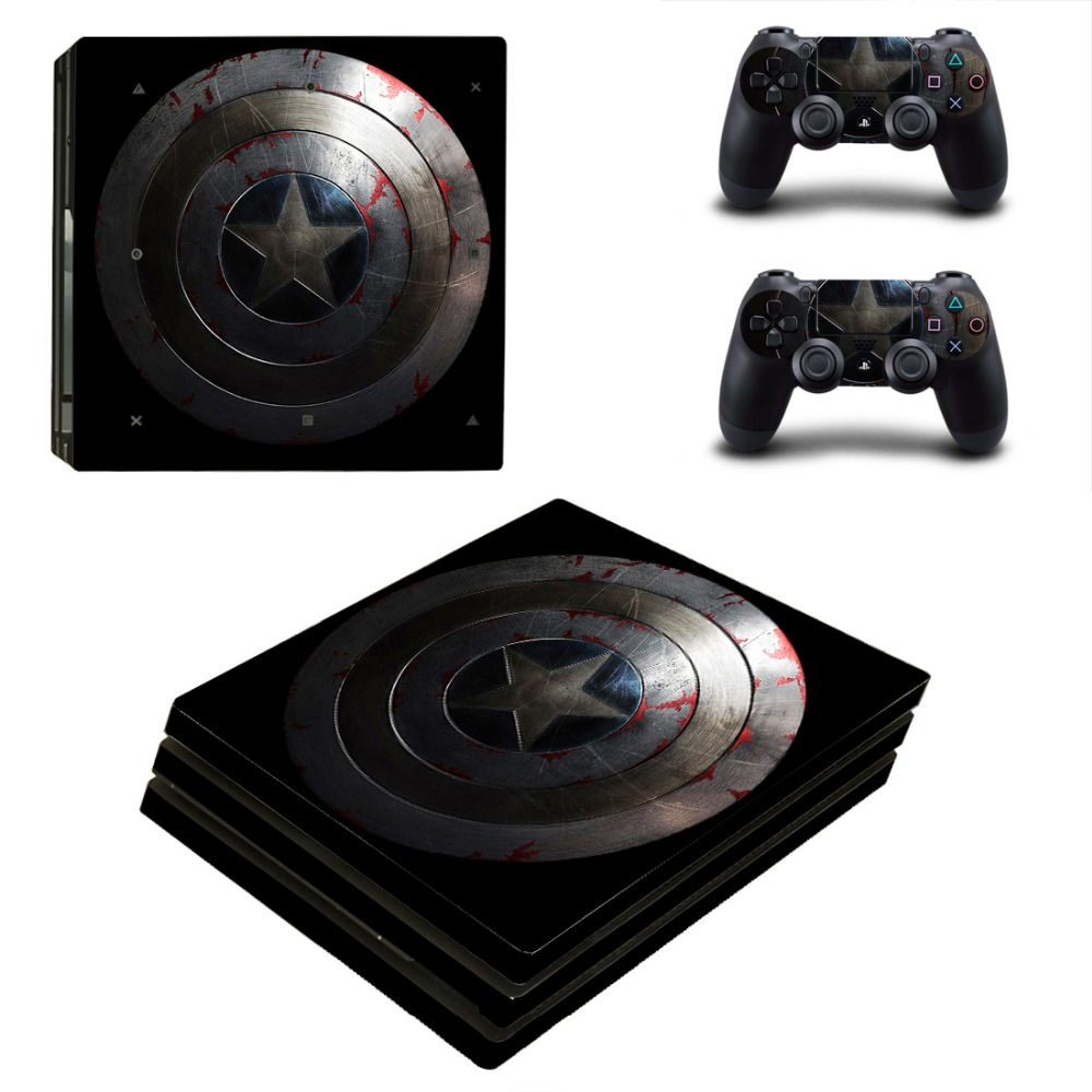 PS4 Pro Captain America Skin Sticker Decal For Playstation 4 Pro Console + Controllers
