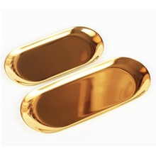 Luxurious Metal Storage Tray Gold Oval Dotted Fruit Plate Small Items Jewelry Display Tray Mirror(China)