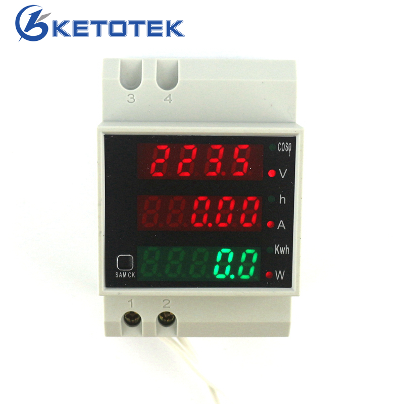 Din Rail AC 80-300V AC 250-450V 0-100.0A Ammeter Voltmeter Volt Amp Meter LED Display Power Power Time Energy Voltage Current