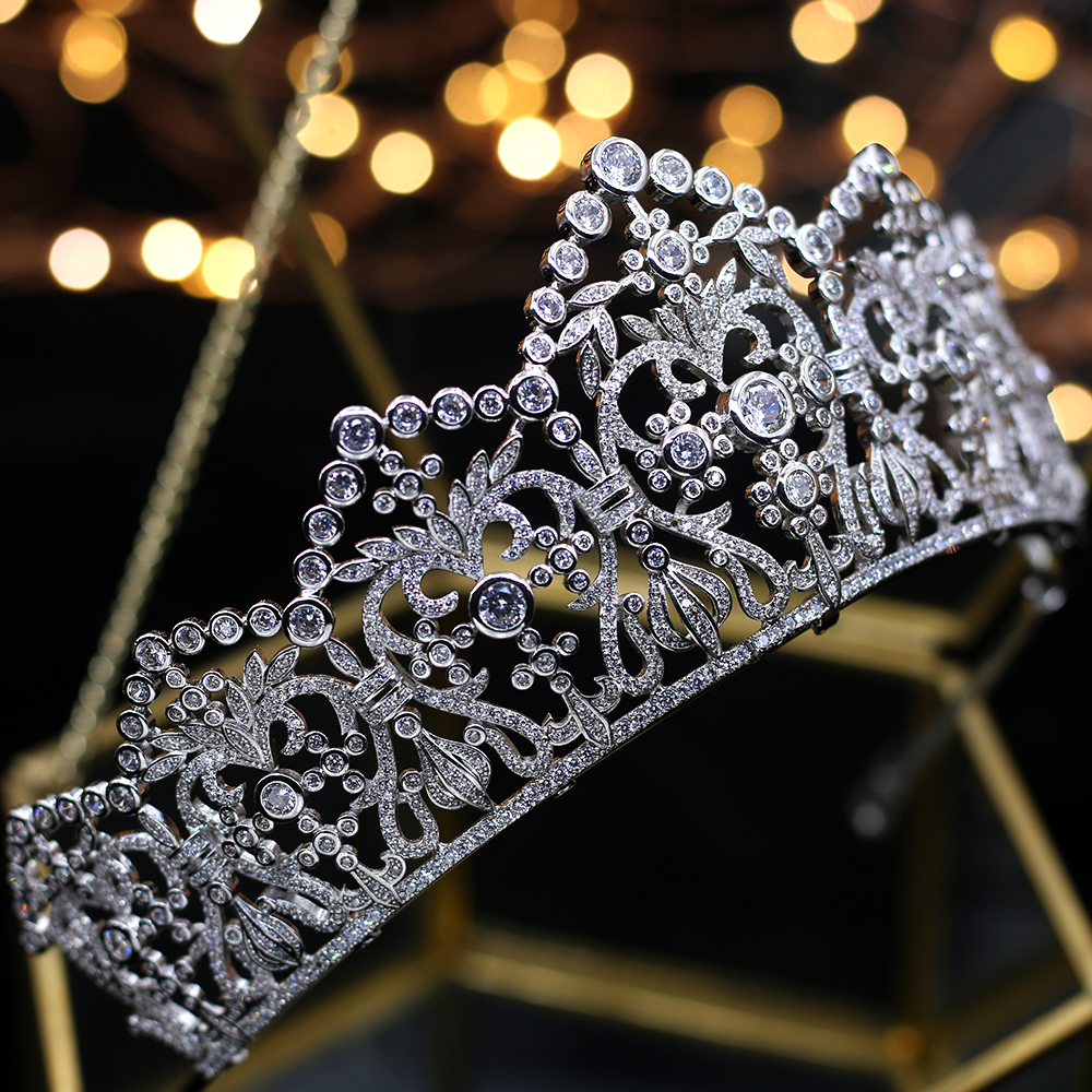High end sparkling zircon crystal bridal Crown Crown Silver Wedding accessories royal Queen Night Hair Ornament