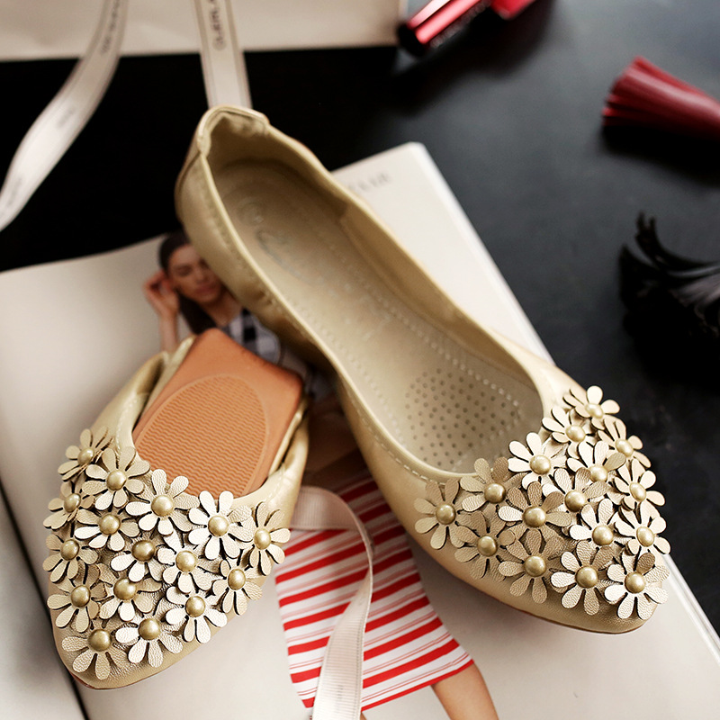 Women Foldable Ballet Shoes Flower Egg roll shoe Woman PU Pointed Toe Girl Shollow Single Shoes Ballet Flats Girl Ladies 34 45
