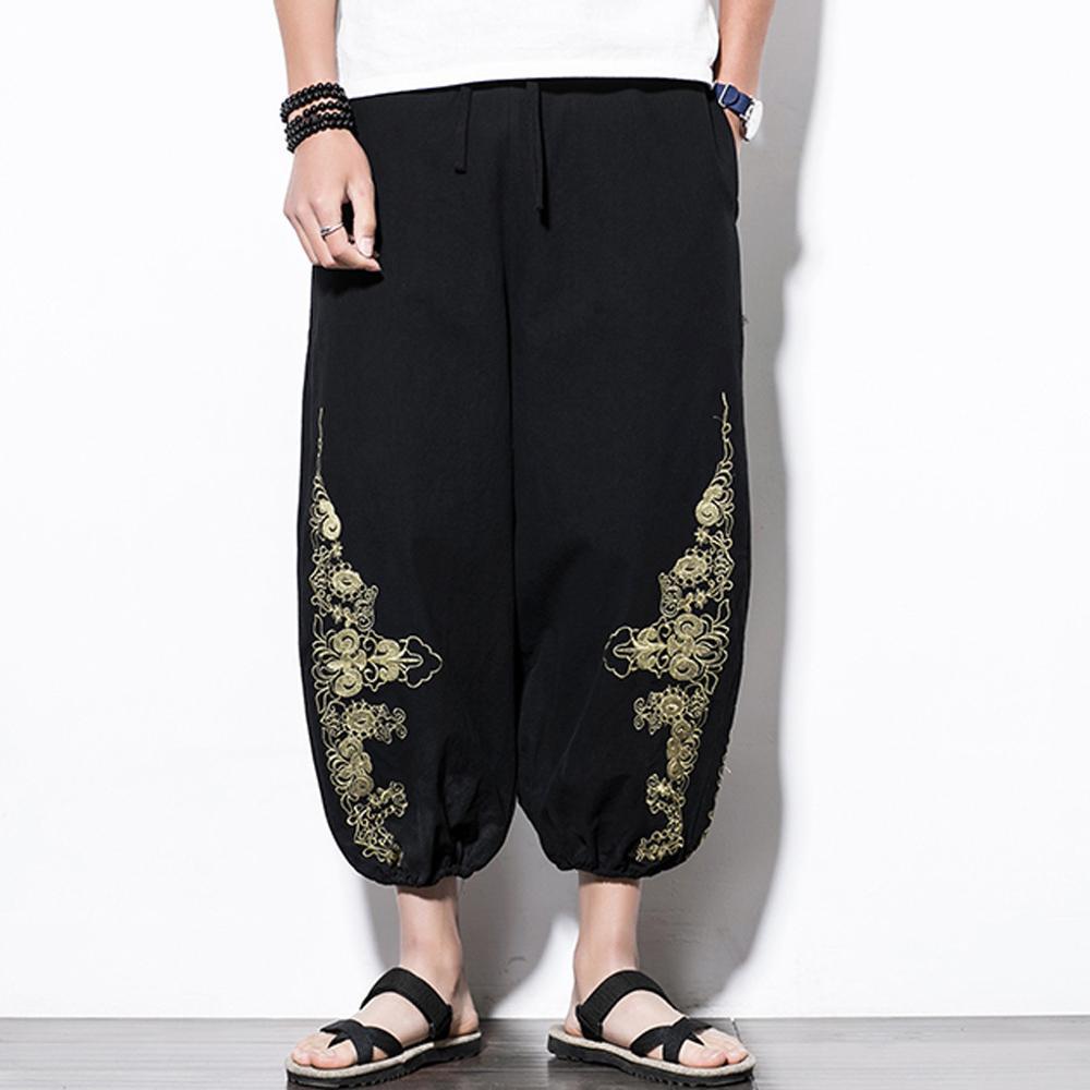 Men Casual Retro Printed Streetwear Drawstring Calf-Length Pants Harem Trouse Linen Loose Pant Hip Hop Baggy Wide Leg Pants(China)