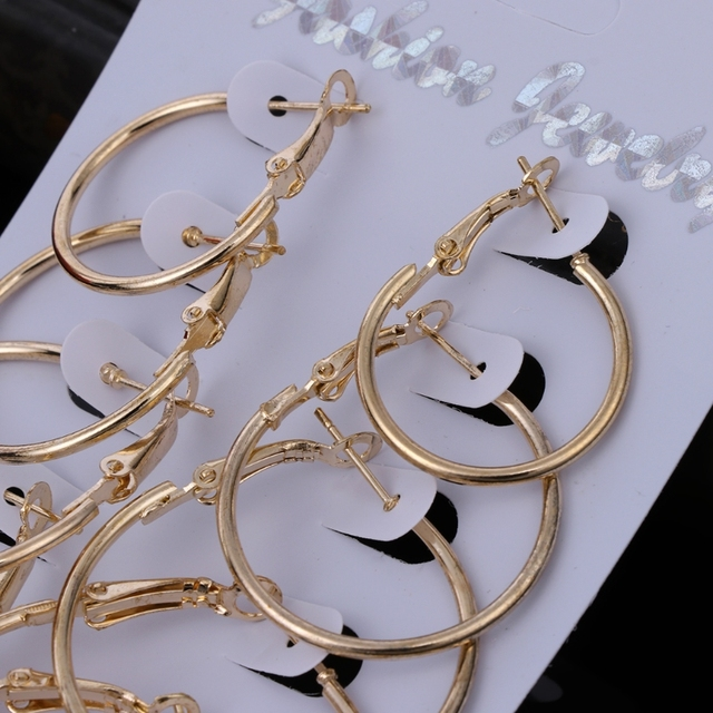 6Pairs/set Gold Silver Circle Earrings 4