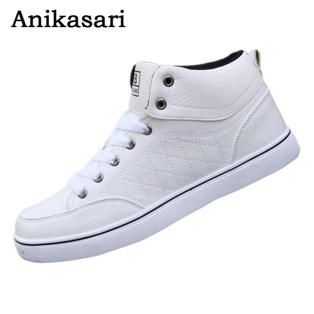 43b2e9405274 2017 Men Shoes Casual High Top Skate Shoes Fashion Ankle Boots Mens Trainers  Tenis Man White
