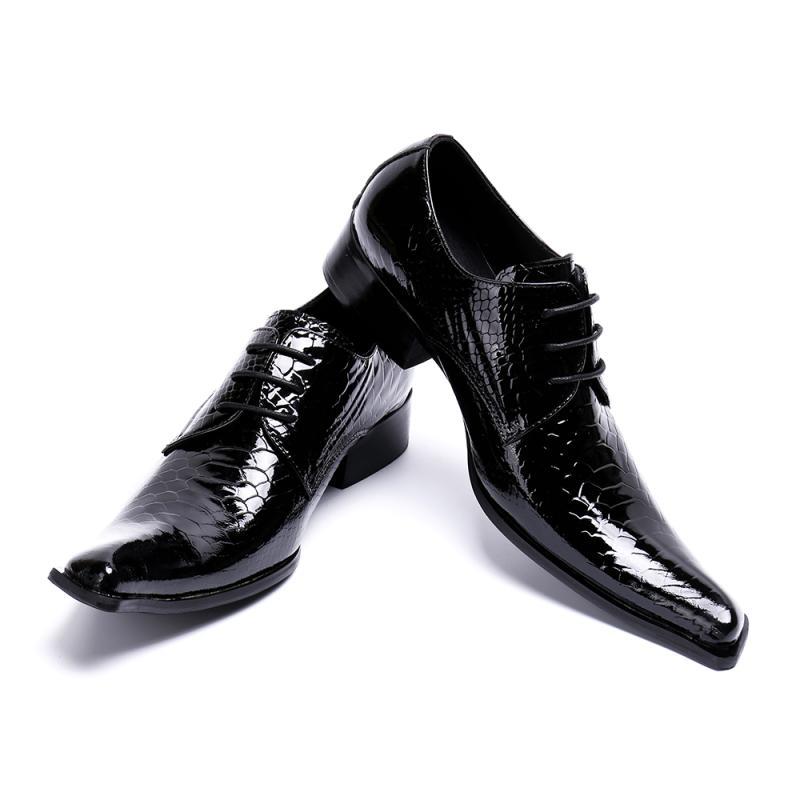 Nieuwe merk designer lakleer mannen schoenen vierkante teen lace up heren trouwjurk schoenen zwart carrière werk schoenen big size 46 US12 - 3