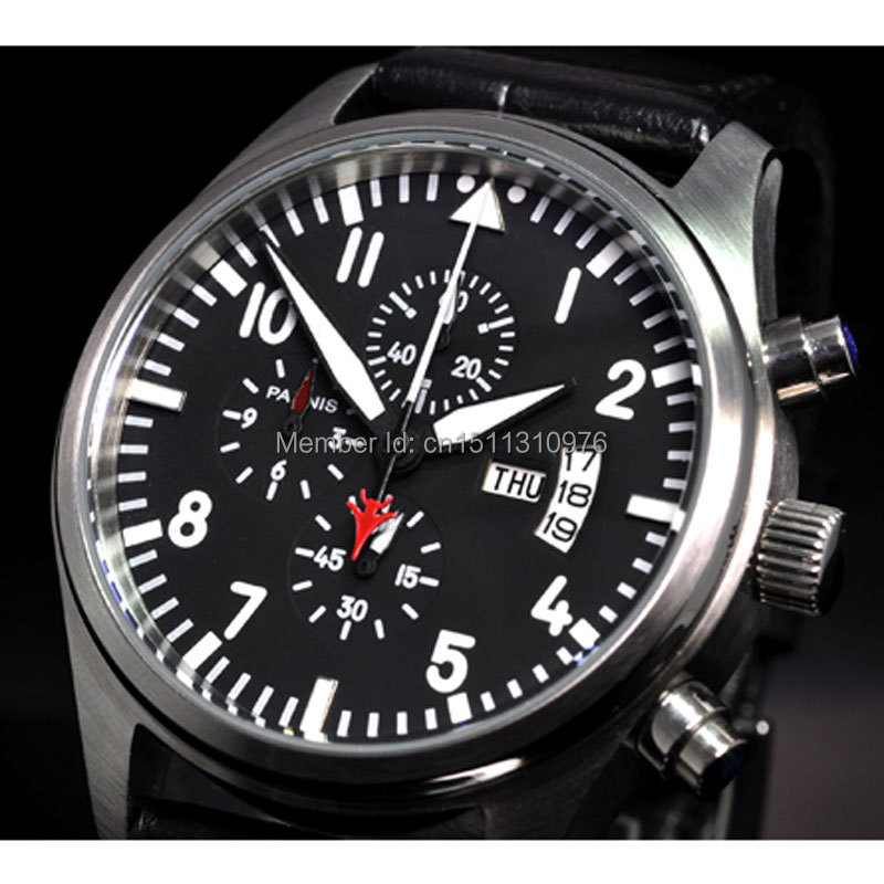 parnis black dial big weeks vintage style day date quartz Full chronograph mens watch 23
