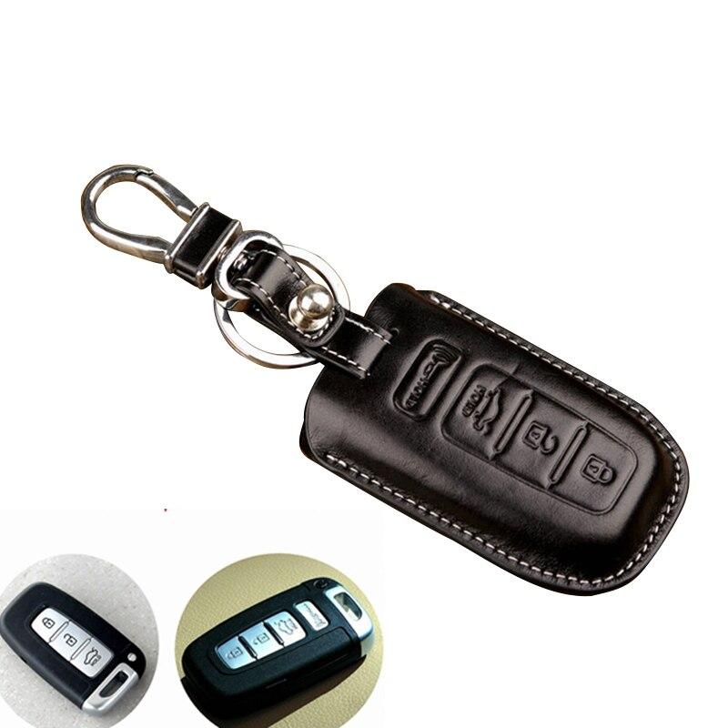 Caso Chave de Couro do couro/Suporte para Hyundai ix35 Elantra Sonata Fit para Kia Sportage r-Forte Carro Inteligente cobertura Fob chave Acessórios