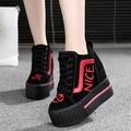 Mulheres Sapatos 2016 Respirável PU Sapatos de Plataforma Altas das Mulheres Sapatos Altura Increasi 10 CM Sola Grossa Sapatilhas Senhoras