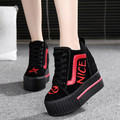 Women's High Platform Shoes 2016 Breathable PU Shoes Women Height Increasi Shoes 10 CM Thick Sole Trainers Ladies