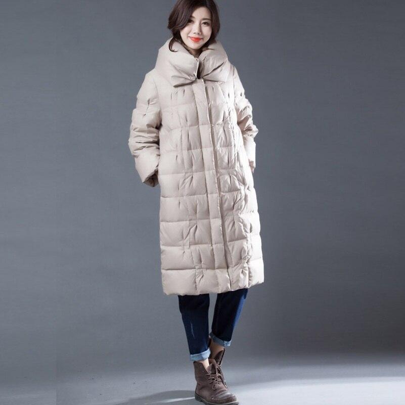 Down   Jacket Winter Warm White Duck   Down   Outwear   Coat   Heap Collar Pleated   Down     Coat