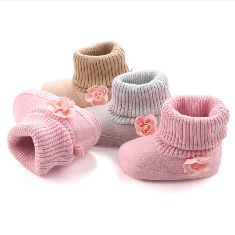 Newborn Baby Toddler Boy Girl Anti Slip Boots Warm Cotton Crib Boots Lovely Shoes with little flower