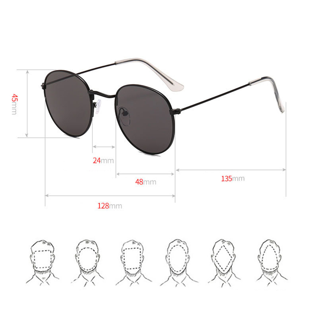 Classic Small Frame Round Sunglasses Brand Designer Alloy Mirror Sun Glasses 4