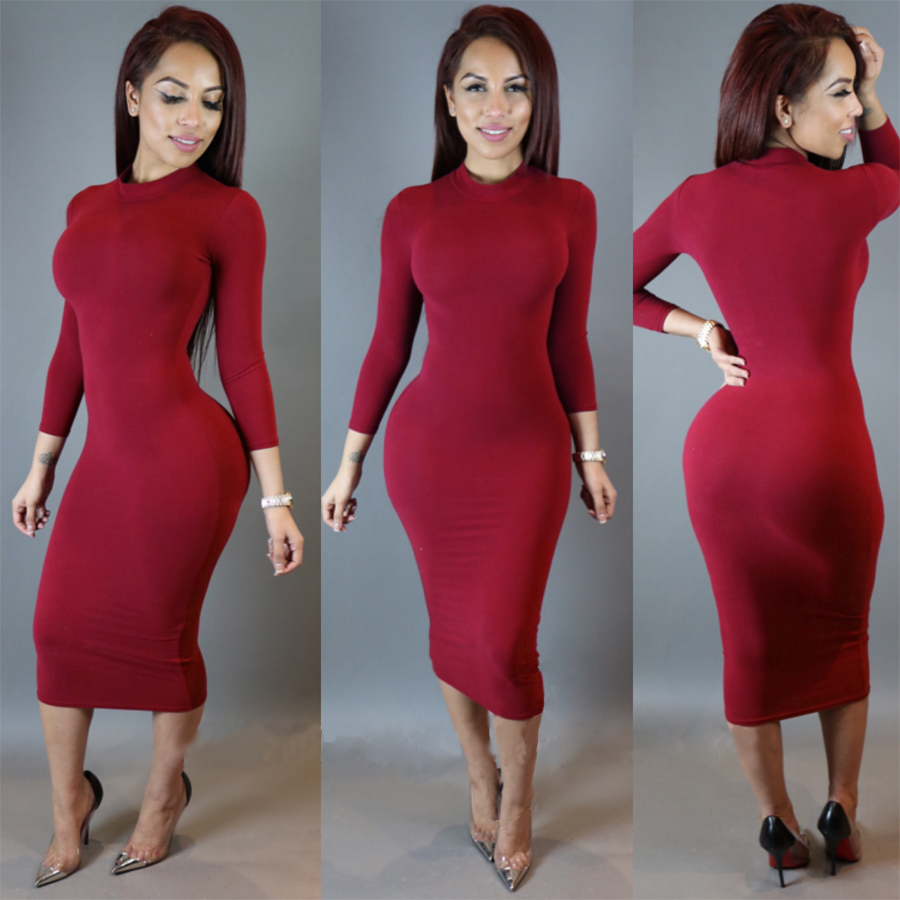 Detail Feedback Questions about Women s Dress Sexy Slim Fashion Europe  Style Long sleeve High Neck Solid Color Clubwear Night Wear Bodycon Dresses  on ... f0e3ff2d0