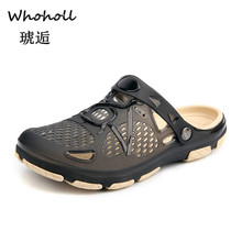 Whoholl 2019 New Summer Jelly Shoes Men Beach Sandals Hollow Slippers Flip Flops Light Sandalias Outdoor Chanclas 45