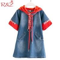 R Z 2017 New Girls Denim Dress Short Sleeves With Hat Letters Sweater Fashion Pocket Design