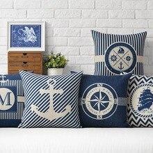 Sea Blue Compass Printed Cushion Cover Anchor Pattern Marine Ship Throw Pillow Case Decorative Pillowcase Cojines Almofadas