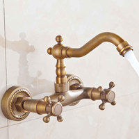 free shipping Antique Faucet Bronze Brushed Sink Faucet Roma Style Vintage Kitchen Fauce Mixer Hot and Cold water
