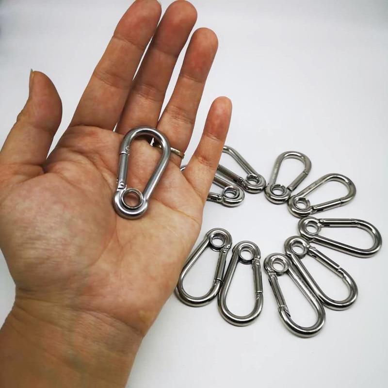 10PCS 60mm M6 Silver 304 Stainless Steel Carabiner Spring Camping Climbing Secure Lock Snap Hook Eyelet Link