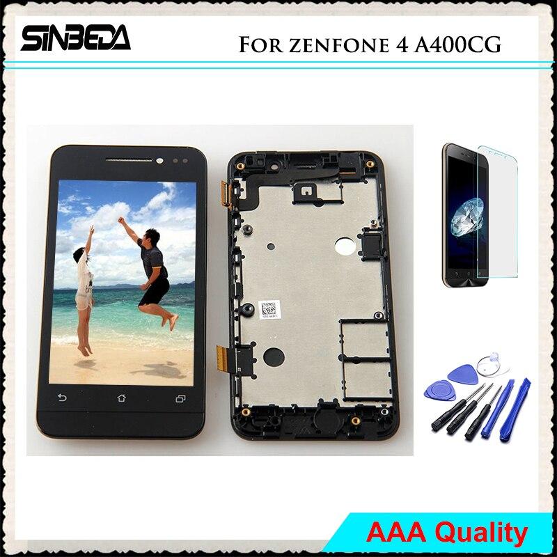 Sinbeda AAA Aucun Pixel Mort LCD Écran Pour ASUS Zenfone 4 A400CG LCD Display + Écran Tactile Digitizer Avec Cadre Assemblée Pour A400CG