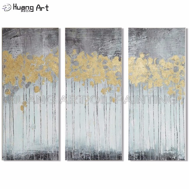 Wall Decor Beautiful Abstract Group Oil Painting Handmade Modern Gold 3Pcs Oil Painting for Living Room Abstract Wall Painting