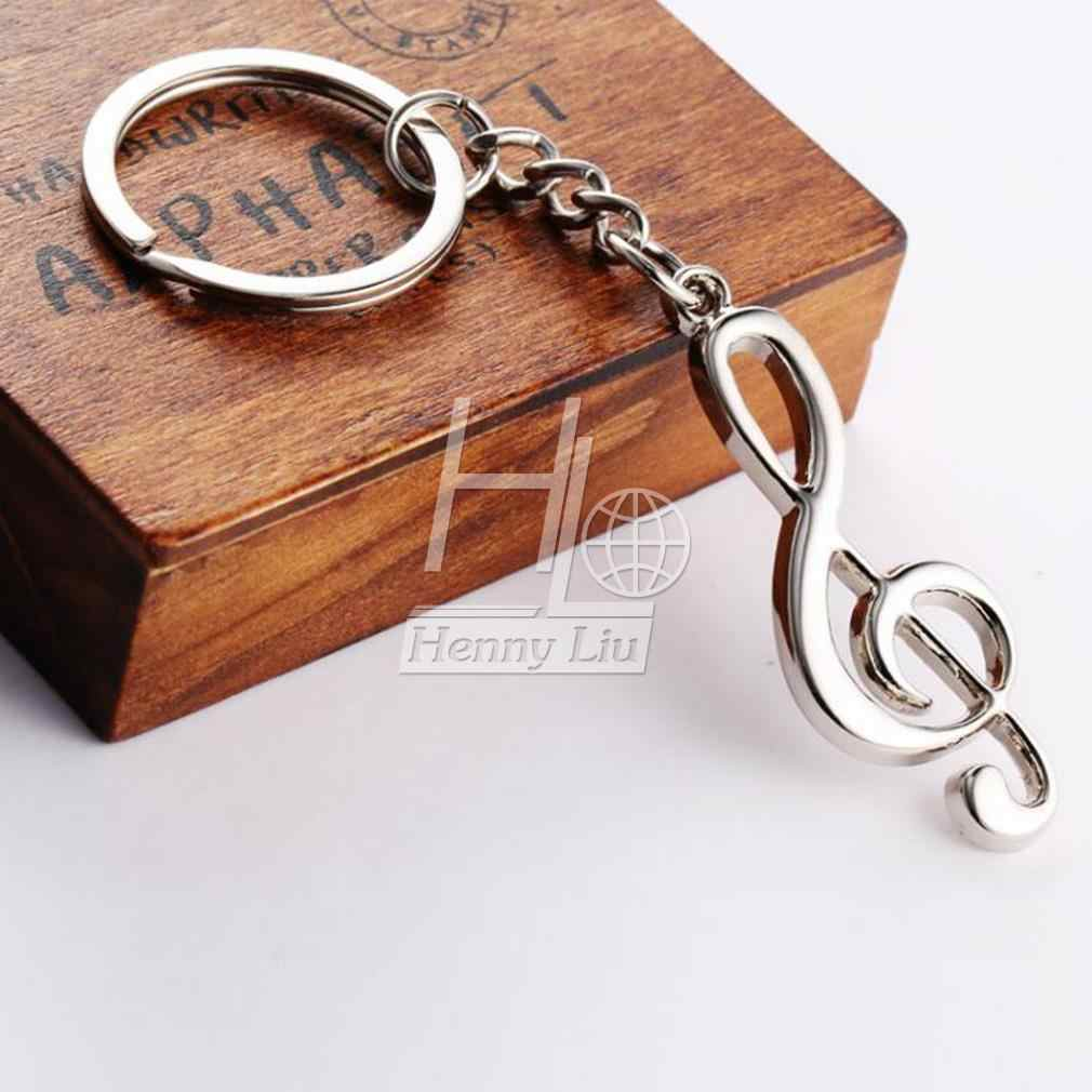 مفتاح حلقة الفضة مطلي الموسيقية مذكرة المفاتيح ل سيارة المعادن الموسيقى رمز الفولاذ المقاوم للصدأ المعادن التريبل المفتاح الموسيقي رمز حقائب للهدايا ديسمبر