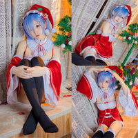 2018 Re:Life in a different world from zero Rem Cosplay Costume Rem Christmas Dress Women's Hat Pajamas Leggings Christmas Gift