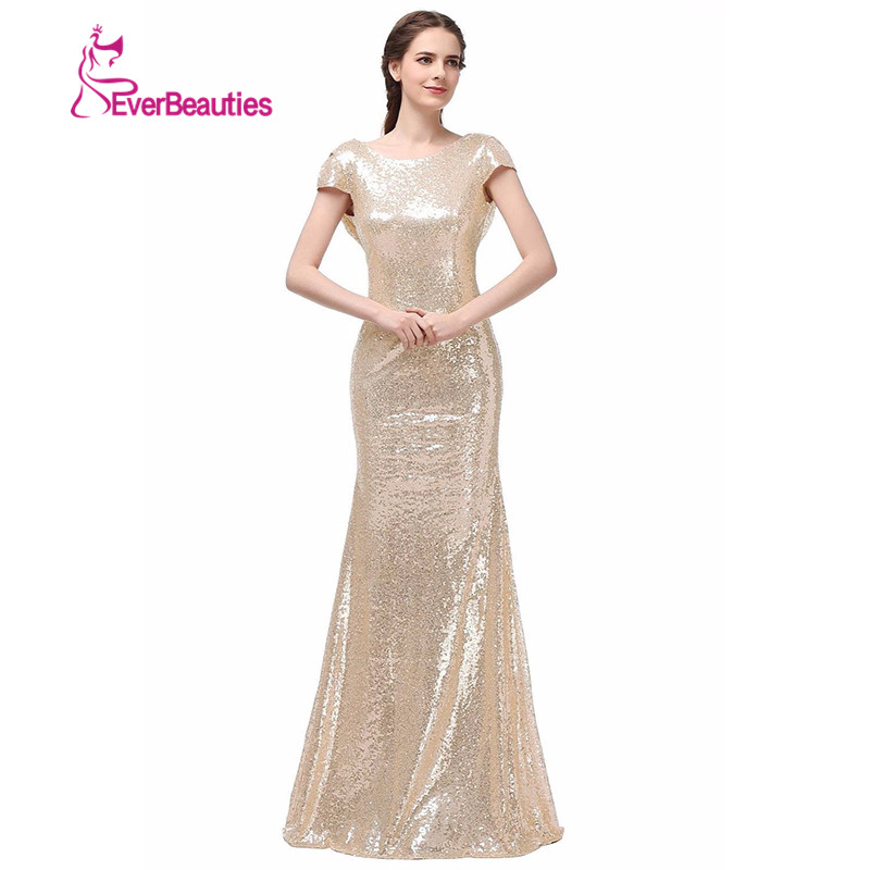 Champagne gold sequin bridesmaid dresses 2016 hot long for Long dresses for wedding party
