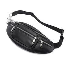 QIUYIN Anti Theft Walking Belt Bags Classic Black White Waist Pack Fashion Chain PU Lychee Leather Waist Bag Waterproof