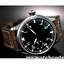Free Shipping 44mm classic black dial parnis luminous makrs asia 6497 movement Mechanical Watches hand winding mens watch PA01
